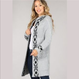 (S-L) Gray and Black hooded sweater cardigan